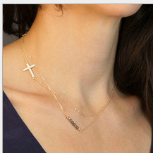 Free shipping double layers crystal pendant gold thin chain women cross necklace(China (Mainland))