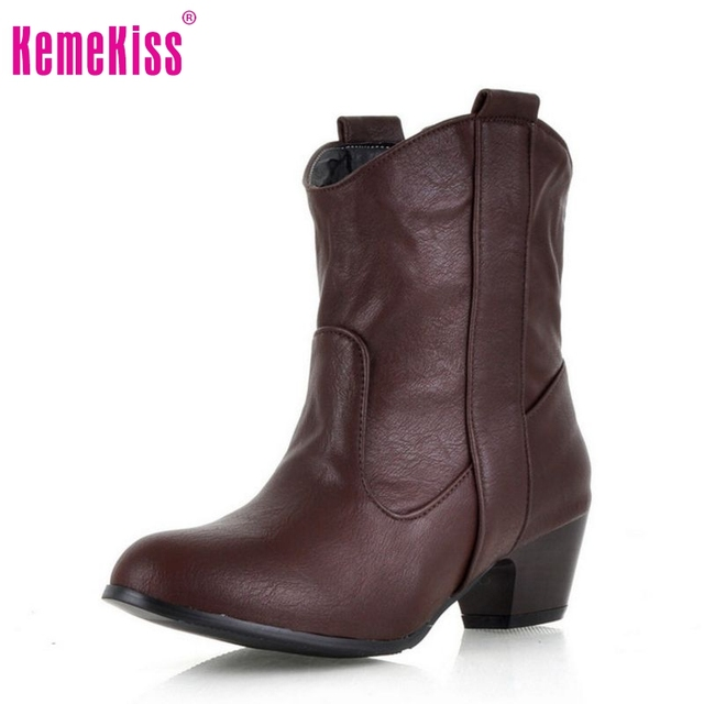 women high heel half short ankle boots winter martin botas fashion footwear warm heels boot shoes P1683 size 34-43