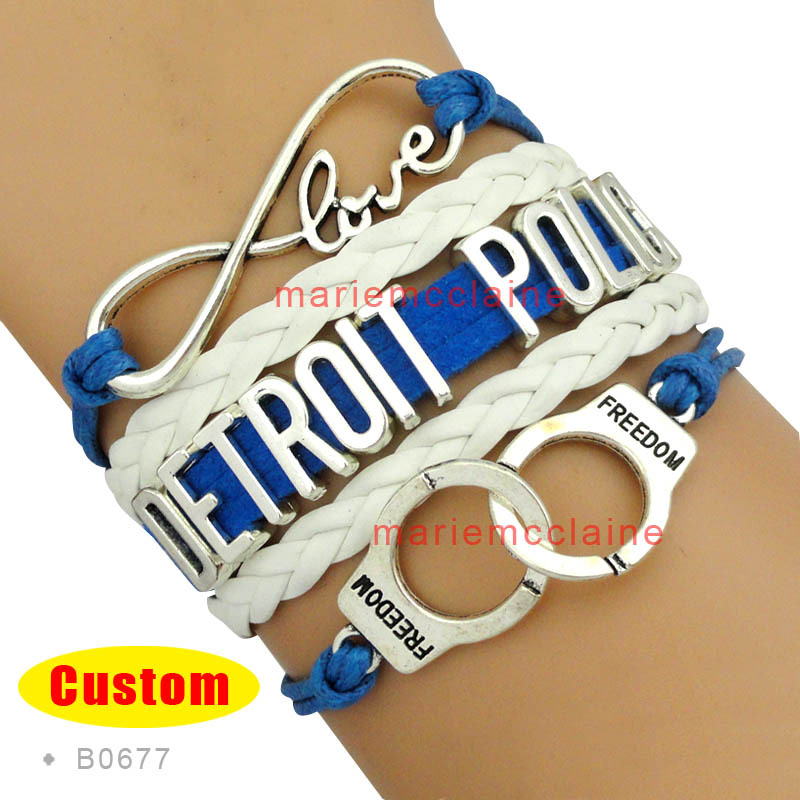 (30 PCS/lot) Infinity Love Detroit Police Handcuffs Bracelets Blue Black White Jewelry Drop Shipping(China (Mainland))