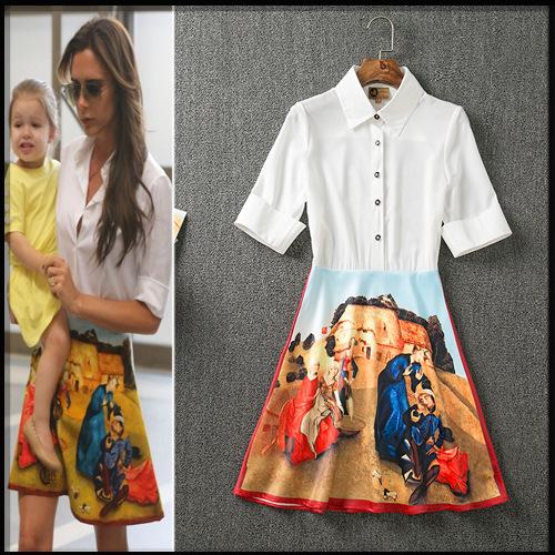 2016 Fashion High Quality Victoria Beckham Dress Summer Women Shirt Collar Short Sleeve Vintage Oil Painting Print Shirt Dress(China (Mainland))