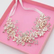 Fait à la main romantique en or Rose bandeau de cheveux perle ruban bandeaux de mariage mariée Pageant tête pièces pour les femmes diadèmes bijoux(China)