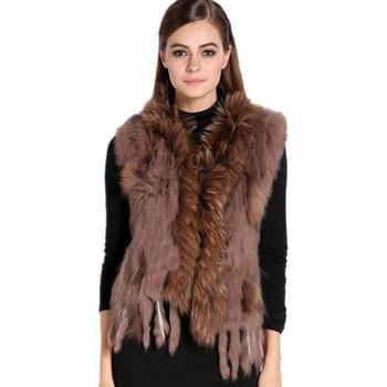 Zdfurs * дамы трикотаж естественная кроличий мех жилет енот мех воротник женщины кроличий мех жиле жилет colete пеле