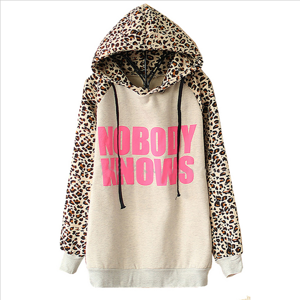 2015 New  Hoodies Sports Sweatshirt Autumn Fashion Women Light Grey NOBODY KNOWS Print Hooded Leopard Casual Sweatshirt LS322(China (Mainland))