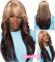 cheap wigs two-tone Fashion ombre celebrity wig big wave female elegant wigs wavy wig synthetic,wholesale Free Shipping