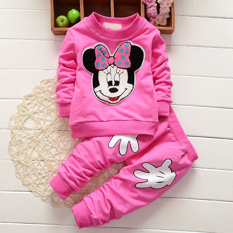 Baby Girl Outfits Fashion Baby Girl Clothes Newborn Leisure Cartoon Long Sleeved T-shirts + Pants Infant Clothing Jogging Suits(China (Mainland))