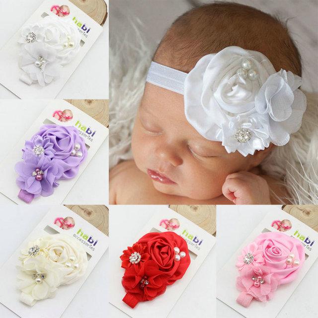 Новая мода Детские Атласная Ruffled Горный хрусталь Цветок с перл малышей повязка ...