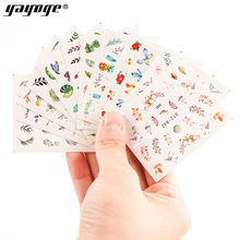YAYOGE 12 hojas mezcladas estilos de marca de agua pegatinas diseños de Arte de uñas unicornios deslizadores de Arco Iris para nailspegatina de transferencia(China)