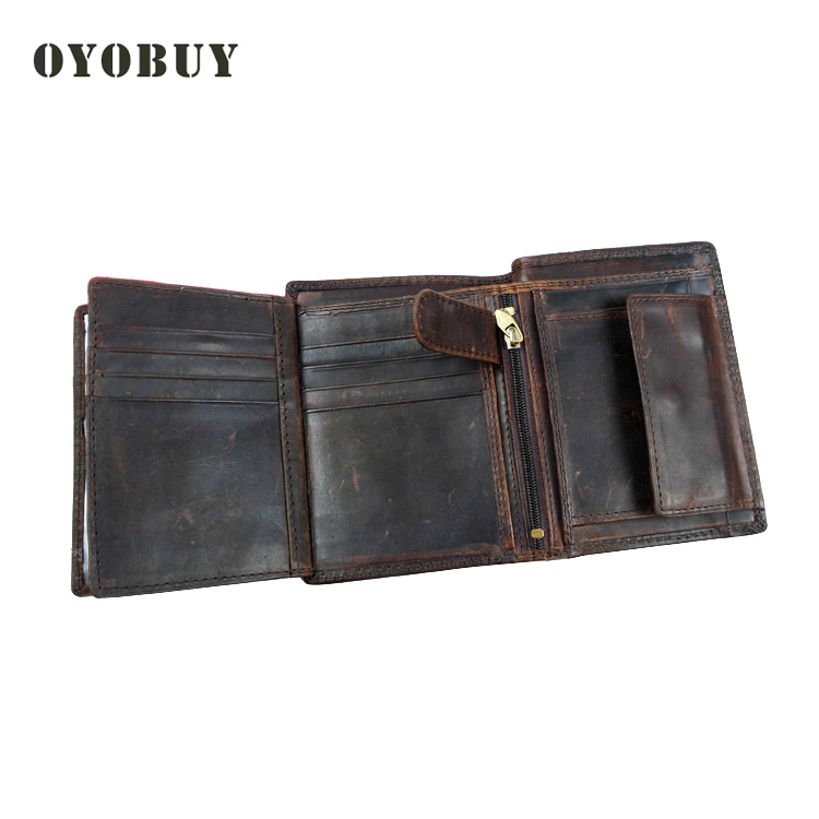 High Quality Vintage Genuine Leather Men Wallets Cowhide Trifold Zipper Wallet Short Vertical Design Purse Card
