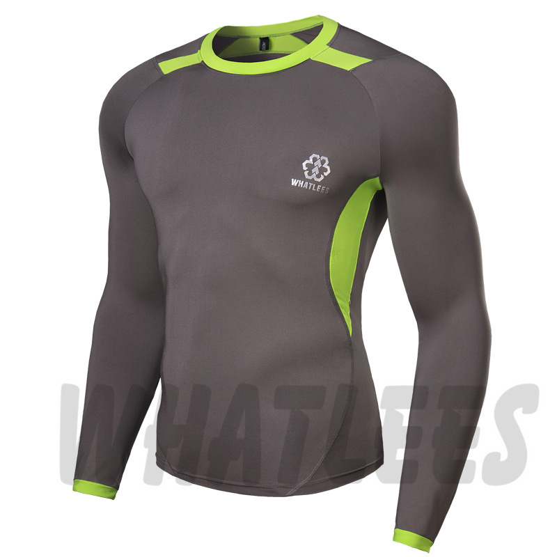 Long Sleeves Compression Base Layers W/ Graphic Double Sleeves Multi-functional Fitness Exercise Sports Tops T-shirt(China (Mainland))