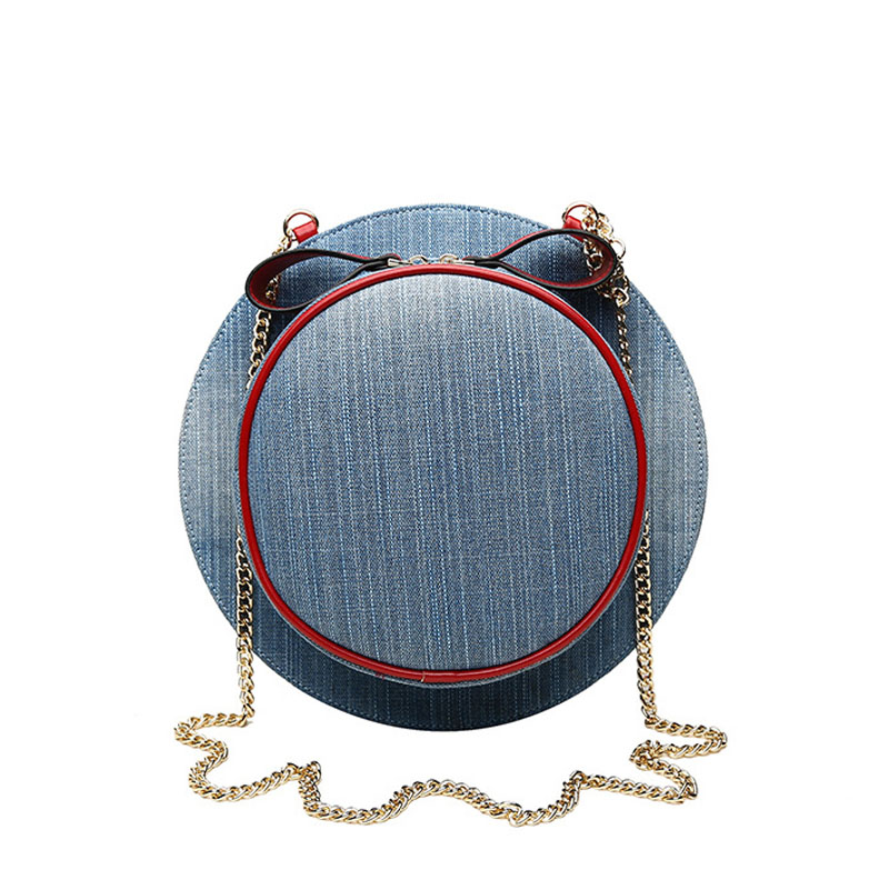 New Fashion Women Hat Shape Messenger Bags Jeans Color Canvas Girls Chain Day Clutch Red Bow Round Shoulder Bag bolso XA519H(China (Mainland))