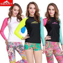 SBART Women Rash Guard New 2015 Long Sleeve Rashguard Swim Shirts Surf T Shirt Womens Rash Guards Swimwear Pants Lycra Upf50 J