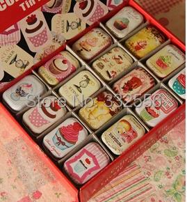New metal Card boxes 32pcs/lot Mini tin box storage jewelry 6*4cm small storage boxes Chewing gum box Mini kit(China (Mainland))