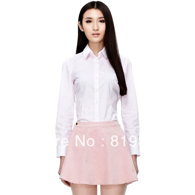 VANCL Women Long Sleeve Shirt Stylish Christine Contrast Overlay Dark Gray/Pink/White New FREE SHIPPING