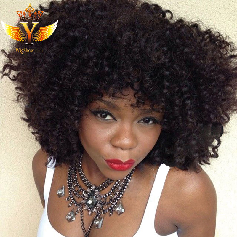 130% Density Short Kinky Curly Wig Virgin Peruvian Afro Curly Full Lace Wig Short Curly Human Hair Wig for African American<br><br>Aliexpress