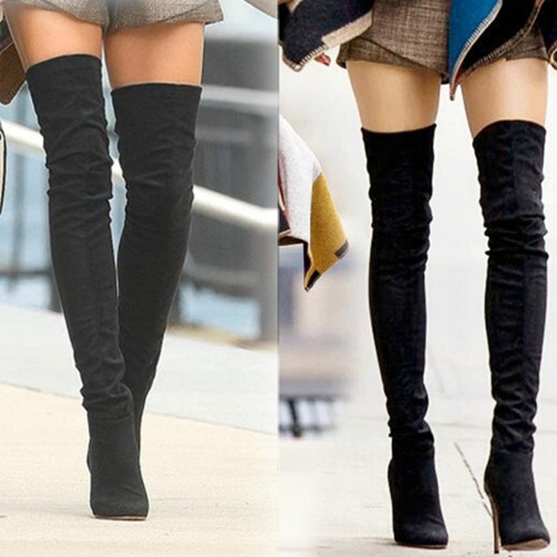 Гаджет  winter women knee high thigh high boots botas femininas 2015 fashion woman over the knee boots sexy zip elastic suede boots None Обувь