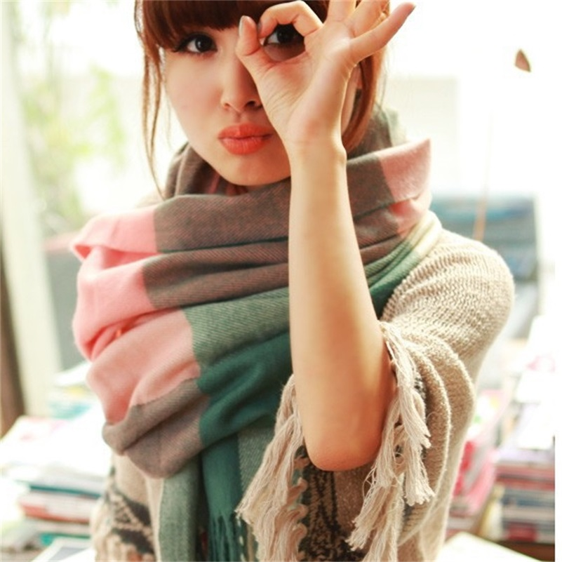 Fashion Wool Winter Scarf Women Spain Desigual Scarf Plaid Thick Brand Shawls and Scarves for Women(China (Mainland))
