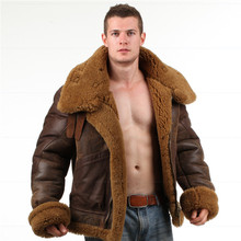 B-3Jacket air shearling Bomber Fur Vintage military pilot men World ar II Leather Flying b-3 Environmental protection of leather(China (Mainland))