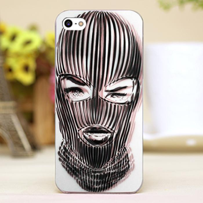 Badwood 3D Ski Mask Design Customized transparent case cover cell mobile phone cases for Apple iphone 4 4s 5 5c 5s hard shell(China (Mainland))