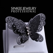 Fashion Big Black Butterfly Rings For Women Adjustable Size High Quality 2015 New Jz217 Free Shipping(China (Mainland))