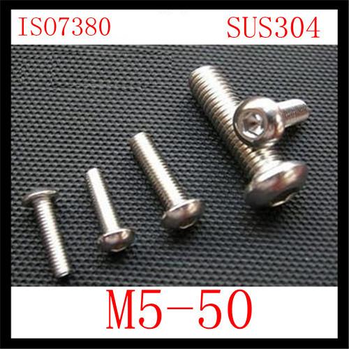 100pcs/lot  Stainless Steel 304 ISO7380 M5*50 Socket  Head Cap Screw<br><br>Aliexpress