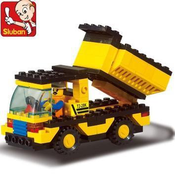 Freeshipping! SLuban Building Block Dump Truck 3D Jigsaw Puzzle Education-assembling toys for kids M38-B9500(China (Mainland))