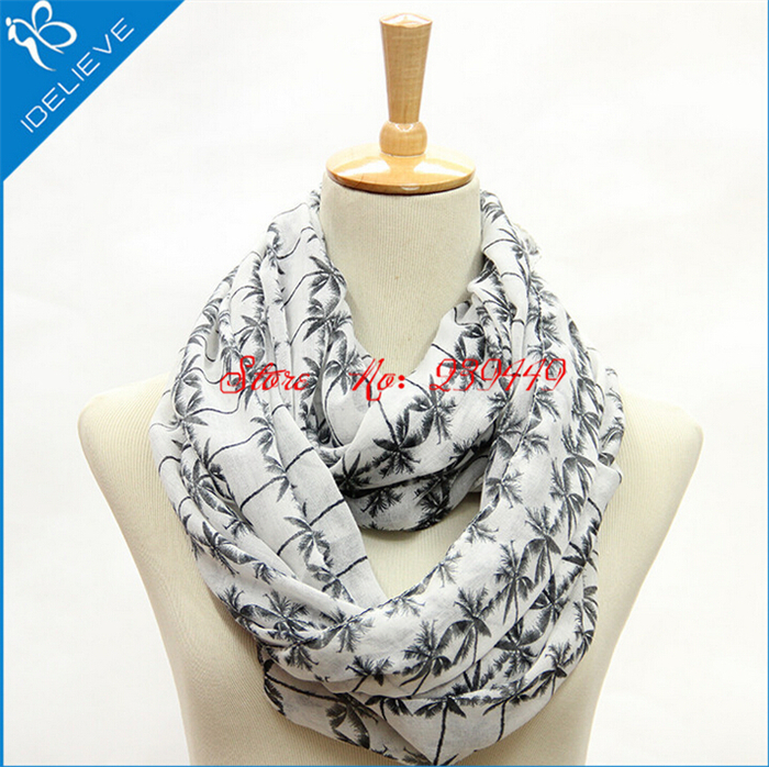 2015 New 10pc a lot Fashion Lightweight Coconut Palm Tree Print Loop Cowl Eternity Endless Circle Voile Infinity Scarf Gift For(China (Mainland))
