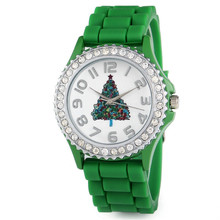 Casual Geneva Rhinestone Silicone Watches Christmas Tree Santa Claus Snowman  Round Dial Silicone Wristwatches For Women and Men(China (Mainland))