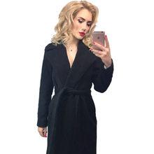 MVGIRLRU elegant Long Women's coat lapel 2 pockets belted Jackets solid color coats Female Outerwear(China)