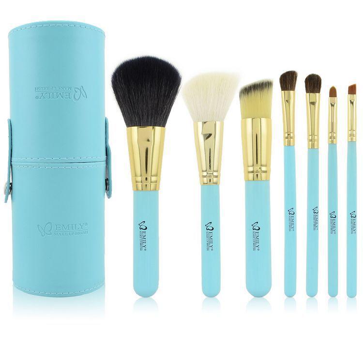 Professional Cosmetics Makeup Brush Set Leather Round Tube (Blue) - Oriental Trading Co., Ltd. store