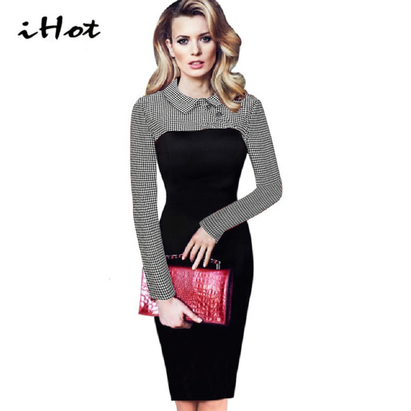 IHOT Autumn Dress Elegant Ladies Long Sleeve Peter Pan Collar font b Tartan b font Vintage