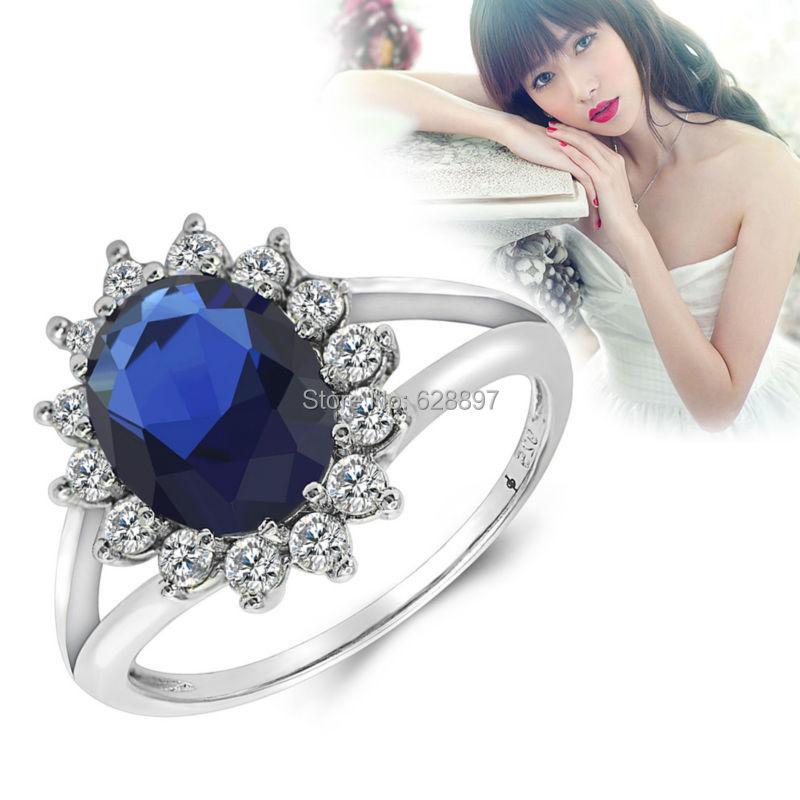princess kate white blue gem sapphire 925 sterling silver