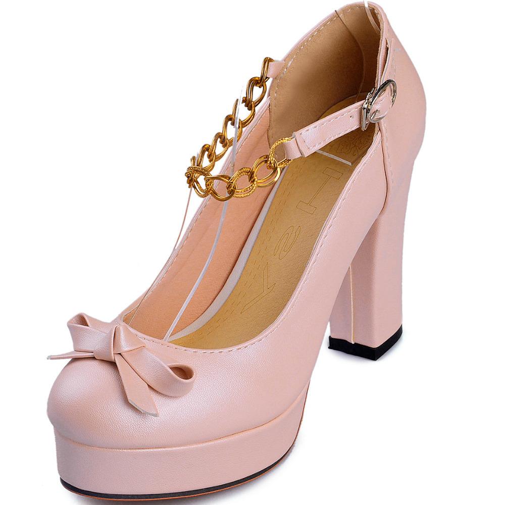 chunky heel platform high shoes woman 2015 round toe sweet bowtie metal chains women pumps casual - ChengDu Fashion Shoes Factory store