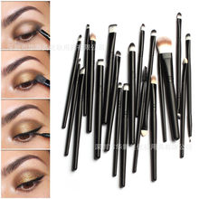 20 PCS black Pro Makeup Brushes Set Powder Foundation Eyeshadow Eyeliner Lip Brush Tool Wooden handle Makeup Brush