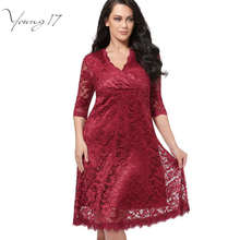 Young17 Plus Size Lace Dress Women Sexy V-Neck Half Sleeve A-line Party gown Knee-Length large size dress Plus Size Lace Dresses