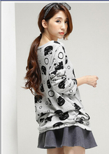 Pregnant women spring and autumn new plus size on both sides of the pleated cute cat printing leisure loose  long tshirts gray(China (Mainland))