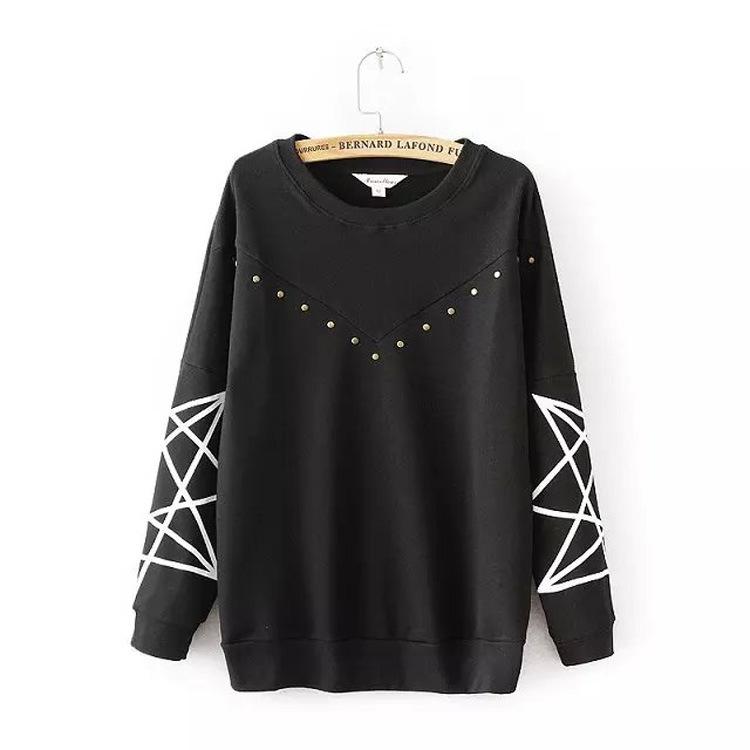 New 2016 Autumn Women Hoodies Geometric printed Pullover Hoodie Casual Long Sleeve Sweatshirts Ladies Harajuku Tracksuits Female(China (Mainland))