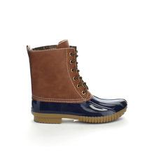 Cuero de Imitación de Encaje de Dos Tonos de las mujeres Botas de Pierna botas de Lluvia de Invierno Botas Botas de Nieve Pato de Goma Vintage Zapatos Impermeables DYLAN-YK(China (Mainland))