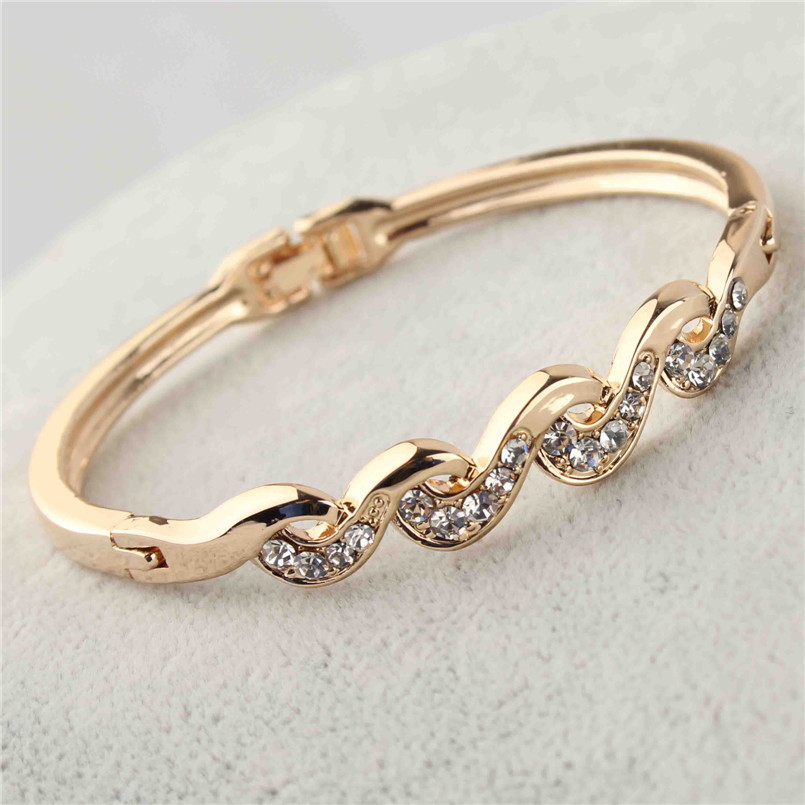 New 18k Yellow Gold Filled Twist Clear Austrian Crystal Wrist Bracelet Bangle Jewelry