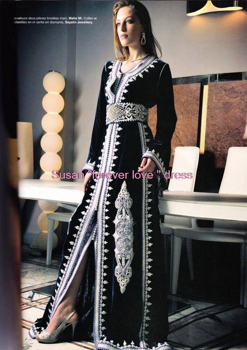 Kaftan Caftan Dubai Evening Dresses Fancy Arab Abaya Black Embroidered Appliques A-Line Islamic Style Formal Long Women Gown U12(China (Mainland))