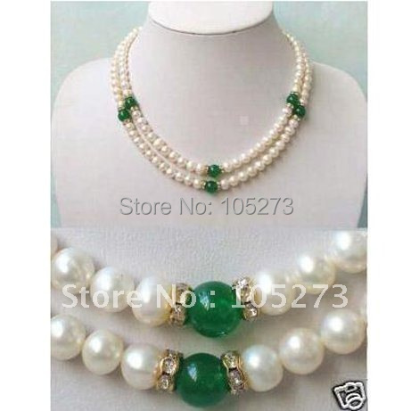 Pearl Jewelry AA 7-8MM White Freshwater Pearl + Green Jade Necklace Fashion Pearl Jewelry Girl's Women's Style New Free Shipping
