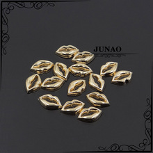 Gold Lips Hot Fix Motifs Iron On Heat Transfer Patches Metal Rhinestones Applique For Hat Shoes Bag Clothing Crafts 100pc(China (Mainland))