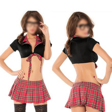 Sexy Red Grid Tartan Check Bikini Scholl Uniform Temptation Suit Emboitement Jumper Skirt Lingerie Seductive Wear Exotic Apparel