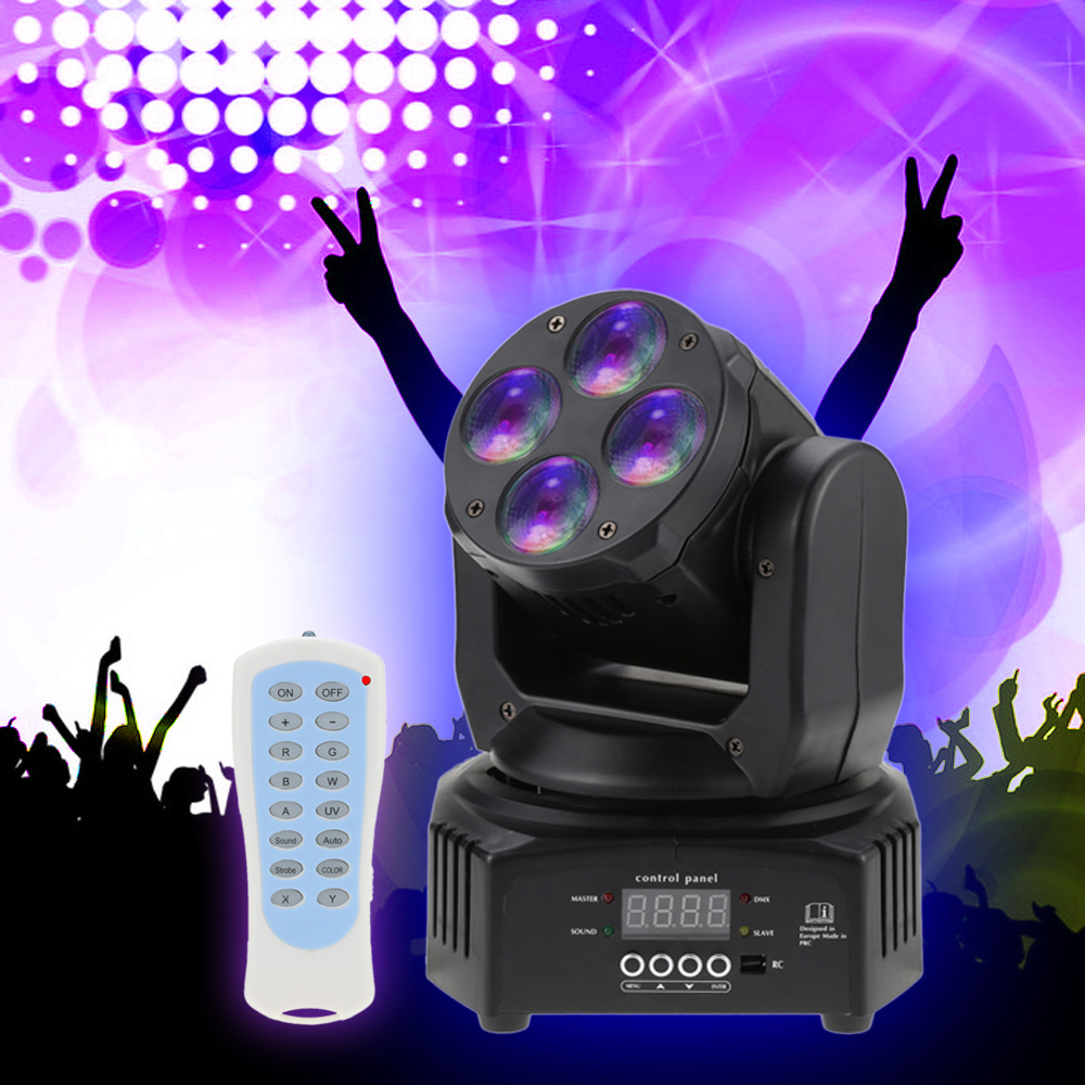 Mini 4 LEDs Wash Moving Head Stage Effect Lighting Light DMX512 Sound-activated with Remote Control Disco Party US PLUG 50W RGBW(China (Mainland))
