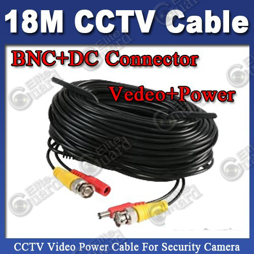 18m CCTV Cable BNC + DC plug cable for CCTV Camera and DVR black color coaxial Cable Freeshipping(China (Mainland))