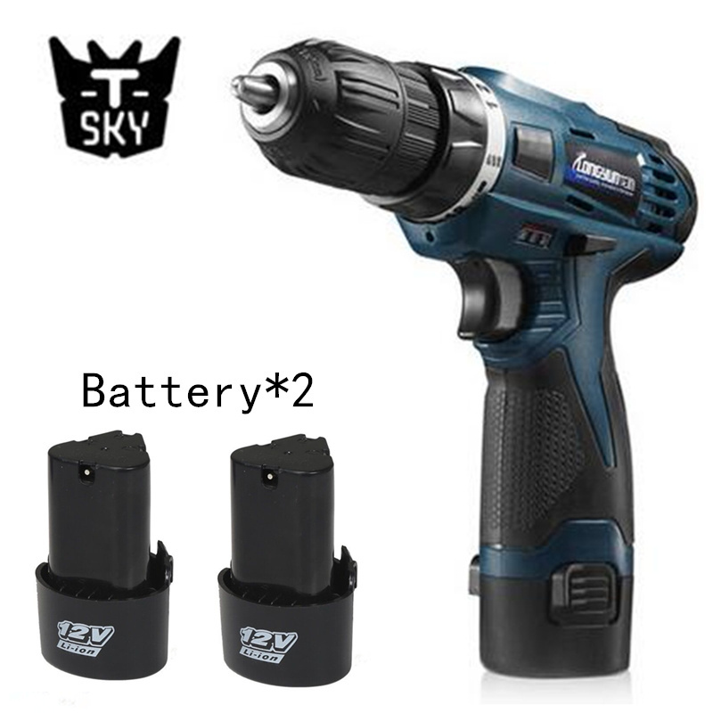 12V Electric Screwdriver Multi-function Cordless Charging Drill bit Rechargeable Battery*2 Parafusadeira Furadeira Power Tools(China (Mainland))
