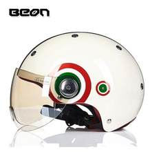 Beon Moto Bersepeda Musim Panas Setengah Helm Wanita ECE Dot Pria Moto RBIKE Moto Vintage Scooter Sepeda Setengah Wajah Helm(China)