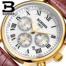 Authentic swiss binger hombres de la marca de zafiro reloj de oro mecánico automático auto-viento impermeable correa de cuero mesa de negocios(China (Mainland))