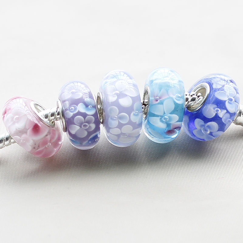 5 color choose 3D full flower charm murano glass bead fit Pandora bracelet and necklace fashion jewelry(China (Mainland))