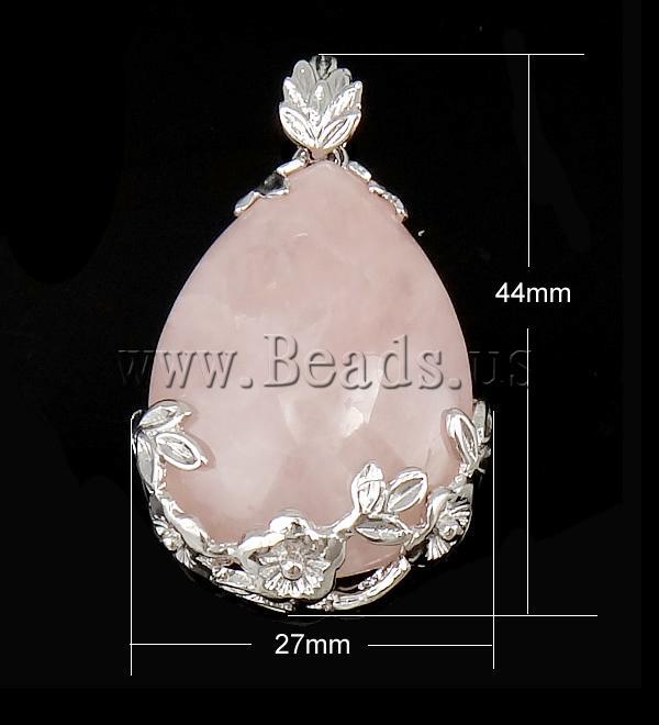 !!Natural Quartz Pendants,Jewellery, Rose Quartz, Brass, Teardrop, 44x27x8mm, Hole:Approx 7mm, 10PCs/Bag - pin- Milky Way Jewelry store