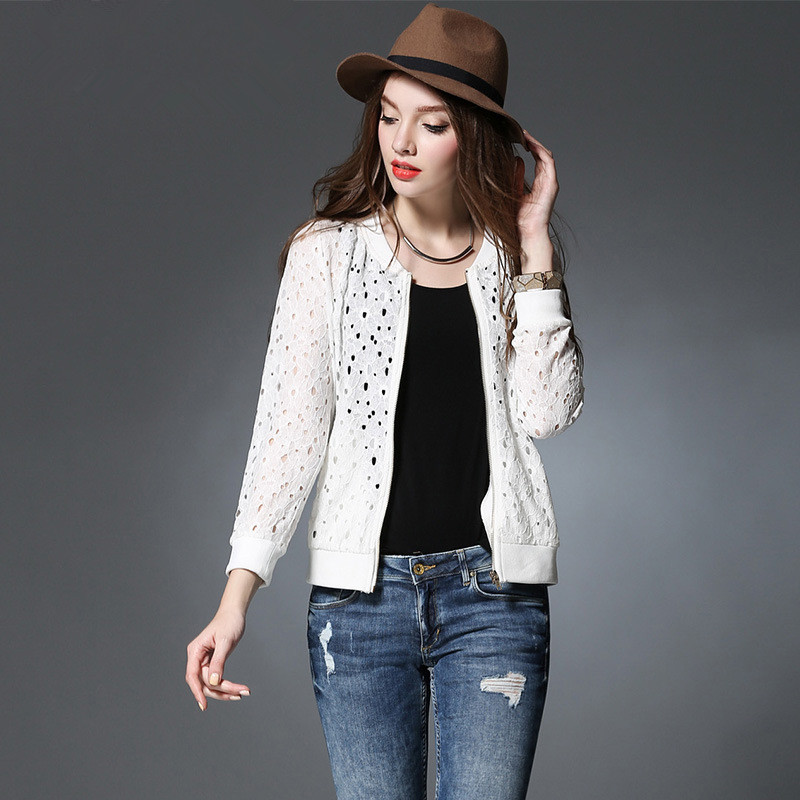 XL-4XL 5XL 2016 Spring Fashion Women Jacket Ladies Large Plus Size Hollow Long Sleeve O-Neck Suits White Black Thin Coat - Yagle Center Co., Ltd store